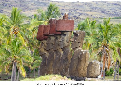 Easter Island, Chile - April 2018. The moai of Ahu-Nao Nao on Anakena Beach, Easter Island, Chile