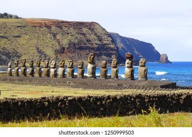 Easter Island, Chile - April 2018. Ahu Tongariki's moai at Easter Island, Chile. The largest moais platform on Easter Island