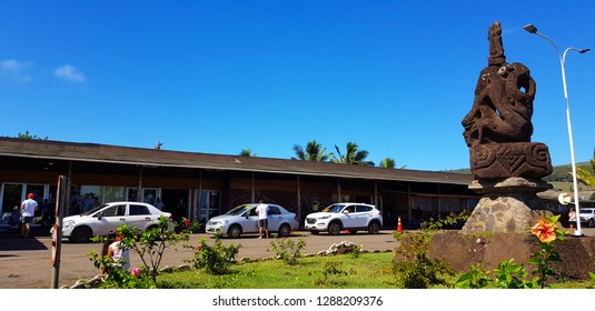 Easter Island, Chile - April, 2018. The exterior of the small Easter Island airport (Mataveri International Airport)