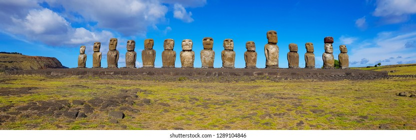 Easter Island, Chile - April 2018. Ahu Tongariki's moai at Easter Island, Chile