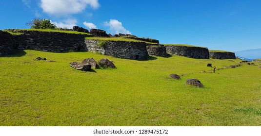 Easter Island, Chile - April, 2018. The ceremonial village of Orongo located on the slopes of the Rano Kau volcano, Easter Island, Chile