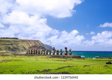 Easter Island, Chile - February 6, 2012: Moais of Ahu Tongariki on Easter Island, Chile.