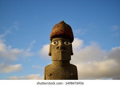 Easter Island Moai with blue sky
