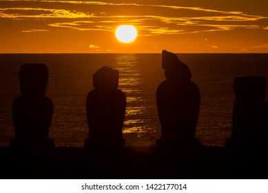 Easter Island sunset with moai. Easter Island is most famous for its nearly 1,000 extant monumental statues, called moai, created by the early Rapa Nui people.