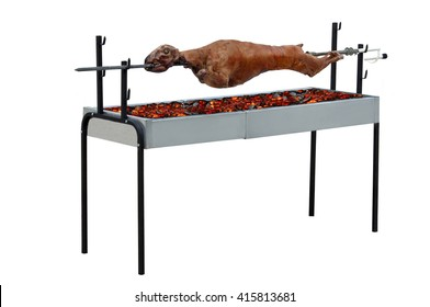 easter lamb on a spit, isolated on white, clipping path included