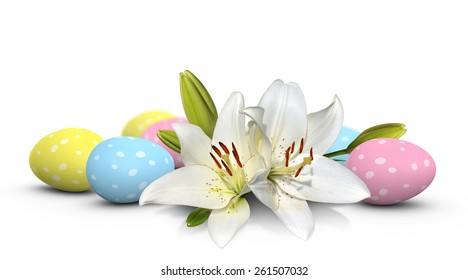 Easter lily flowers and pastel eggs painted with spots