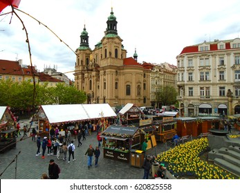 Easter markets in the Old Town Square in Prague, Czech Republic, Europe, April 13, 2017