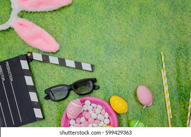 easter movie/film concept.Flat lay