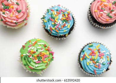 Easter Muffins with Sprinkles Viewed from Above