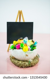Easter nest with chalkboard and catkins