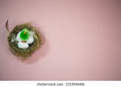 Easter, nest, easter nest, pink background