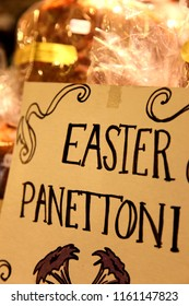 Easter Panettoni Sign in a Fancy Bakery
