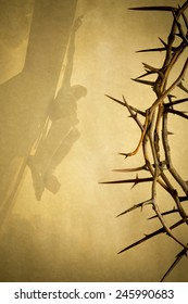 Easter photo background illustration with Crown of Thorns on Parchment Paper with Jesus Christ on the Cross faded into the background.