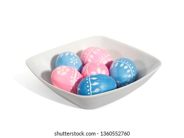 Easter plate with Easter eggs isolated on a white background