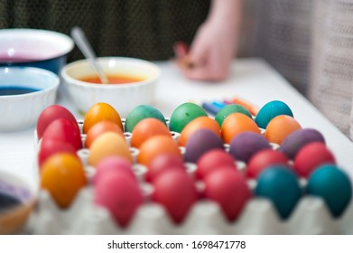 Easter, preparation for the holiday, egg painting.