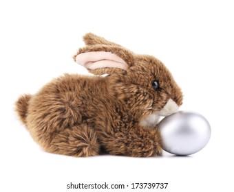 easter rabbit and egg on white background