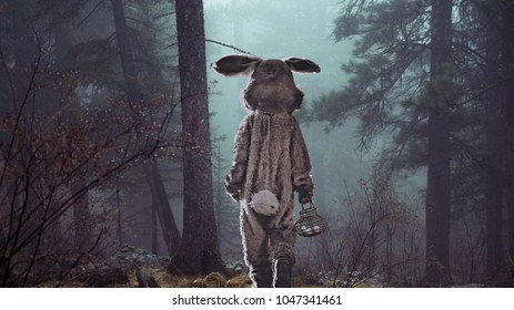 Easter rabbit walking through the smokey forest on his way to deliver eggs.