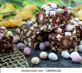 Easter rocky road with mini marshmallows