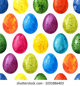 Easter seamless pattern background with colorful watercolor eggs