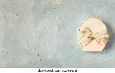 Easter shabby chic egg background. Toned photo.