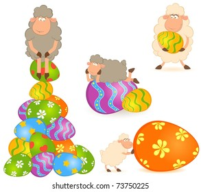Easter sheep with colored egg. Easter card set