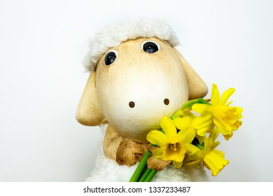 easter sheep toy with narcissi daffodil in her hand with white background