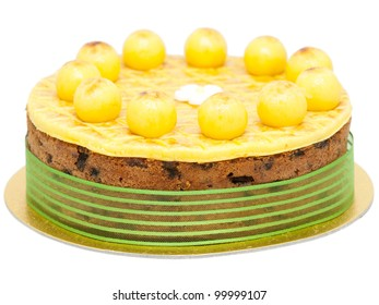Easter simnel cake isolated on white