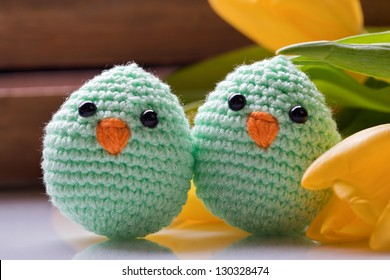 easter and spring decoration with chick and tulip flowers