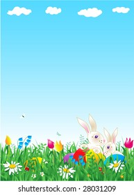 Easter and spring vertical background with bunnies, eggs, fresh green grass, wild flowers and large copy space ( for vector EPS see image 28031206 )