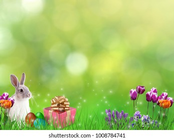 Easter springtime background with rabbit, eggs, flowers, gift decorations.