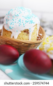 Easter still life. Little Easter cakes and painted eggs