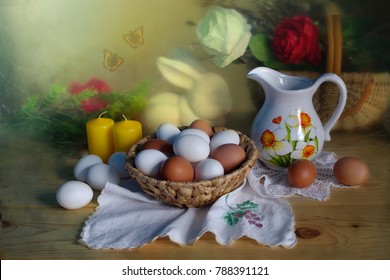 Easter still life.Festive table decoration with colored eggs