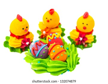 Easter sugar confectionery on a white background
