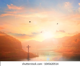 Easter Sunday concept: illustration of Jesus Christ crucifixion on Good Friday