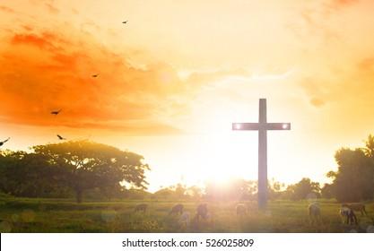 Easter Sunday concept: illustration of Jesus Christ crucifixion on Good Friday