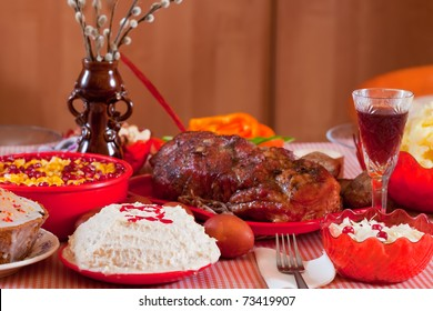 Easter table with celebrate cake  and other meal