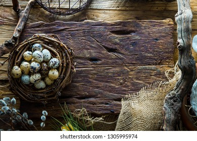 Easter table setting. Fresh eggs on plate. Spring table. Flatlay overhead shot
