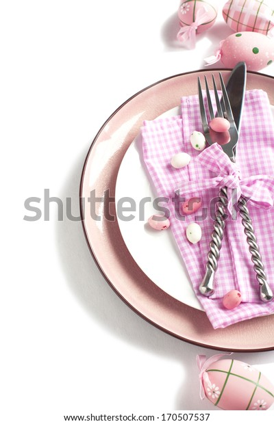 Easter table setting isolated on white background