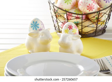 Easter Table Setting on white board