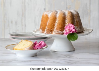 Easter tasty sour cream pound cake and spring flowers