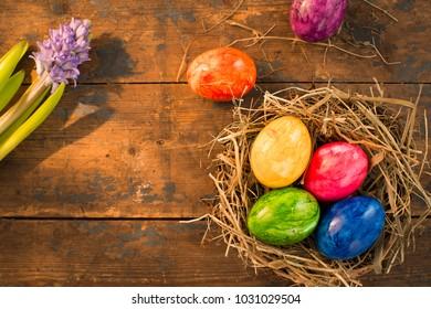 easter themed background eggs nest stock photo edit now 1033446946