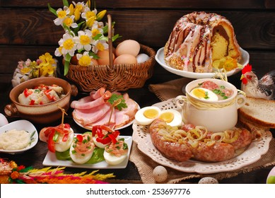 easter traditional polish dishes on rural wooden table