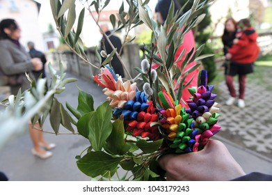 Easter traditions - green and colorful bouquets symbolizing palm branches.