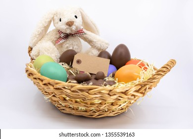 Easter Trim Basket with Painted Eggs, Chocolate Eggs and Quail Eggs with Easter Bunny