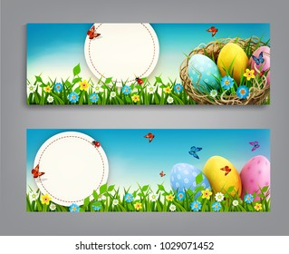 Easter vintage  sale banner, advertising round card with eggs lying in a wicker basket  and with green grass against the background of  blue sky. Design element, template discount posters,wallpaper,