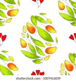 Easter watercolor natural illustration for beautiful Holiday design. Bright seamless pattern.