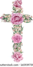 Easter watercolor natural illustration with pink rose cross sticker for beautiful Holiday design