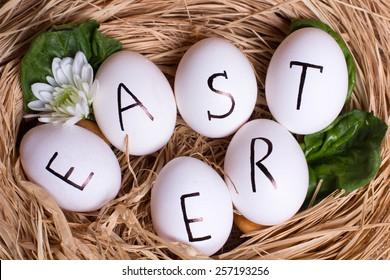 Easter white eggs