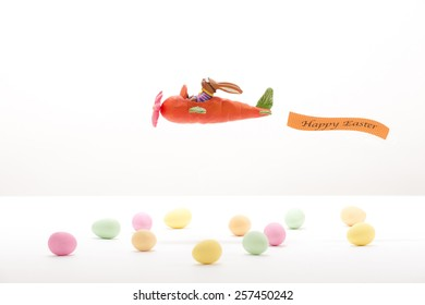 """Easter-bunny in a """"Carrot-airplane"""""""