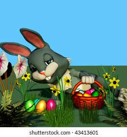 An easter-bunny is searching eggs